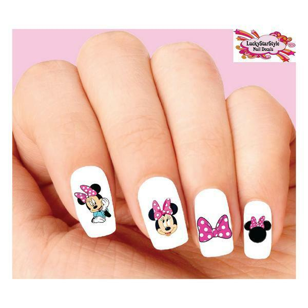 Waterslide Nail Decals Set of 20 - Minnie Mouse With Pink Bow ...