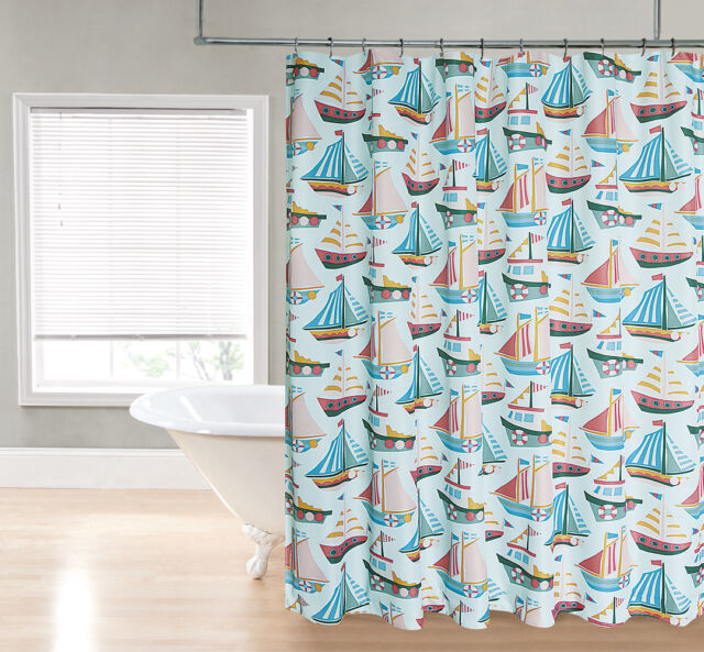 Aqua Blue Sailboat Nautical Ocean Green Coral Sailboats Fabric Shower Curtain