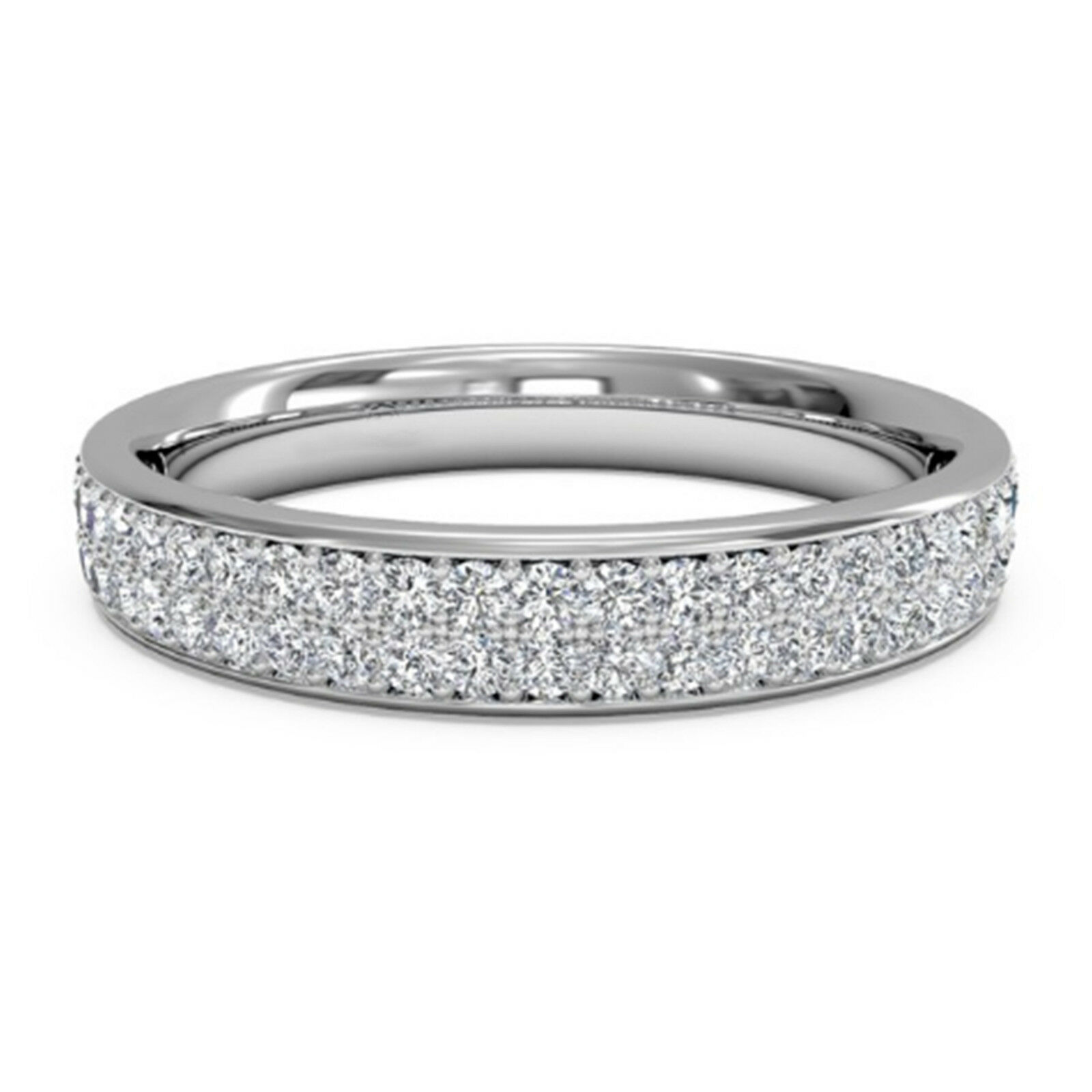 1 Ct D vvs1 Diamond Eternity Wedding Band Ring in 14k White Gold