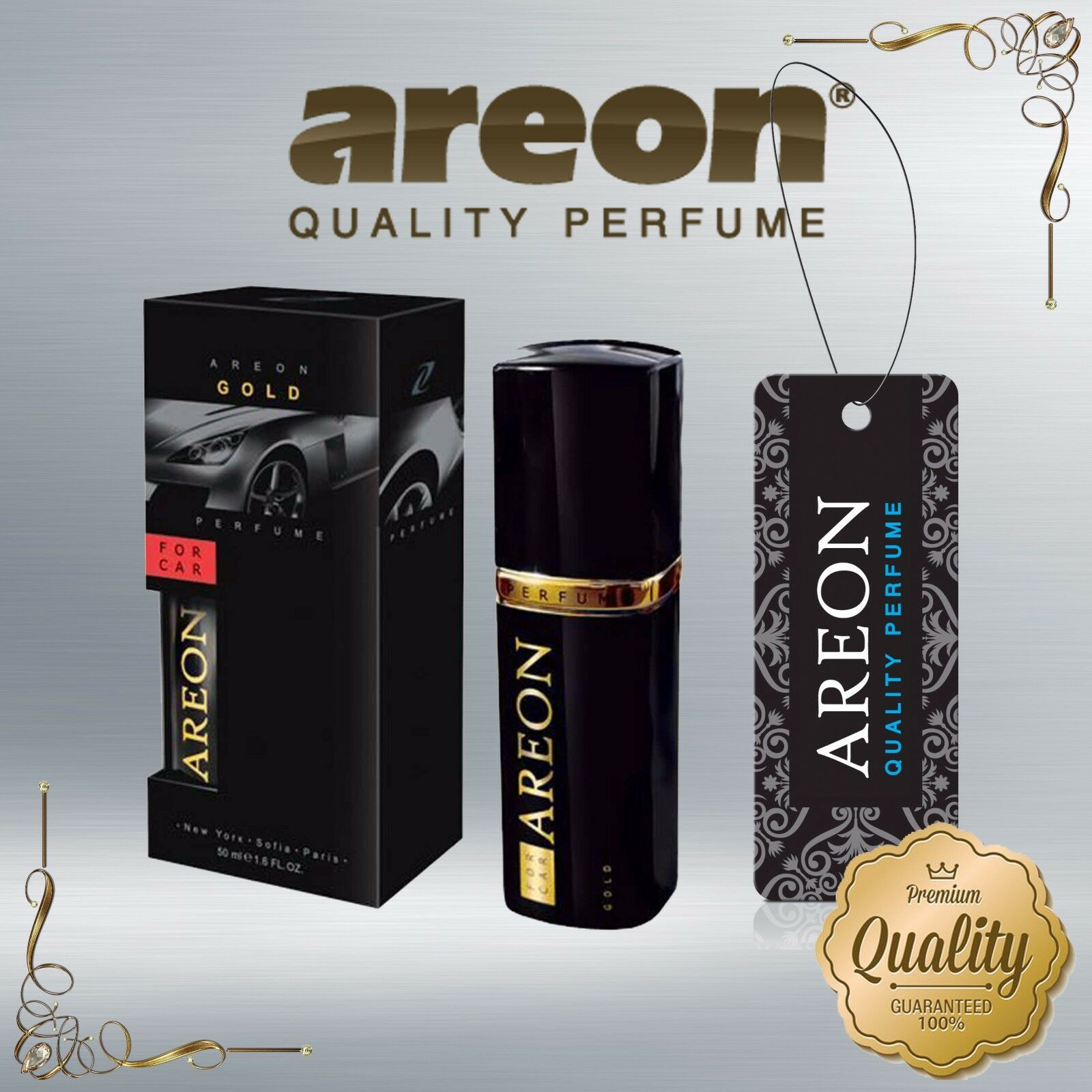 Promotion Air Freshener Home Office Car Luxury AREON Perfume Gold