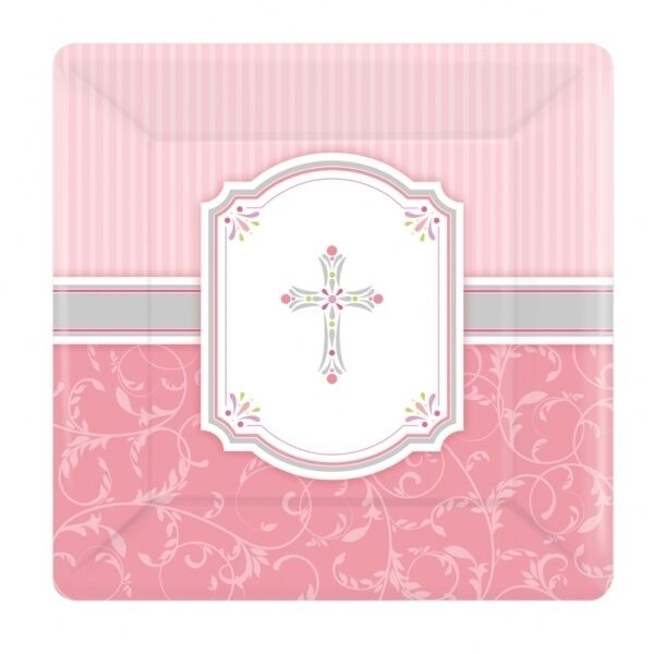 Picture 2 of 2  sc 1 st  eBay & Party Pink Blessings Square Paper Plates Large 8pk Amscan | eBay