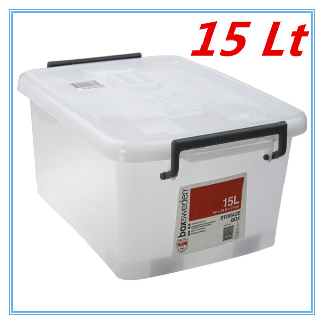 5 X 15l Heavy Duty Plastic Storage Boxes With Lid Crates