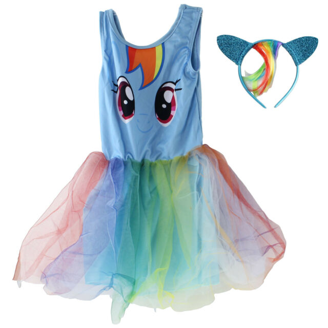 My Little Pony Kids Girls Fancy Blue Party Tutu Dress and Headband ...