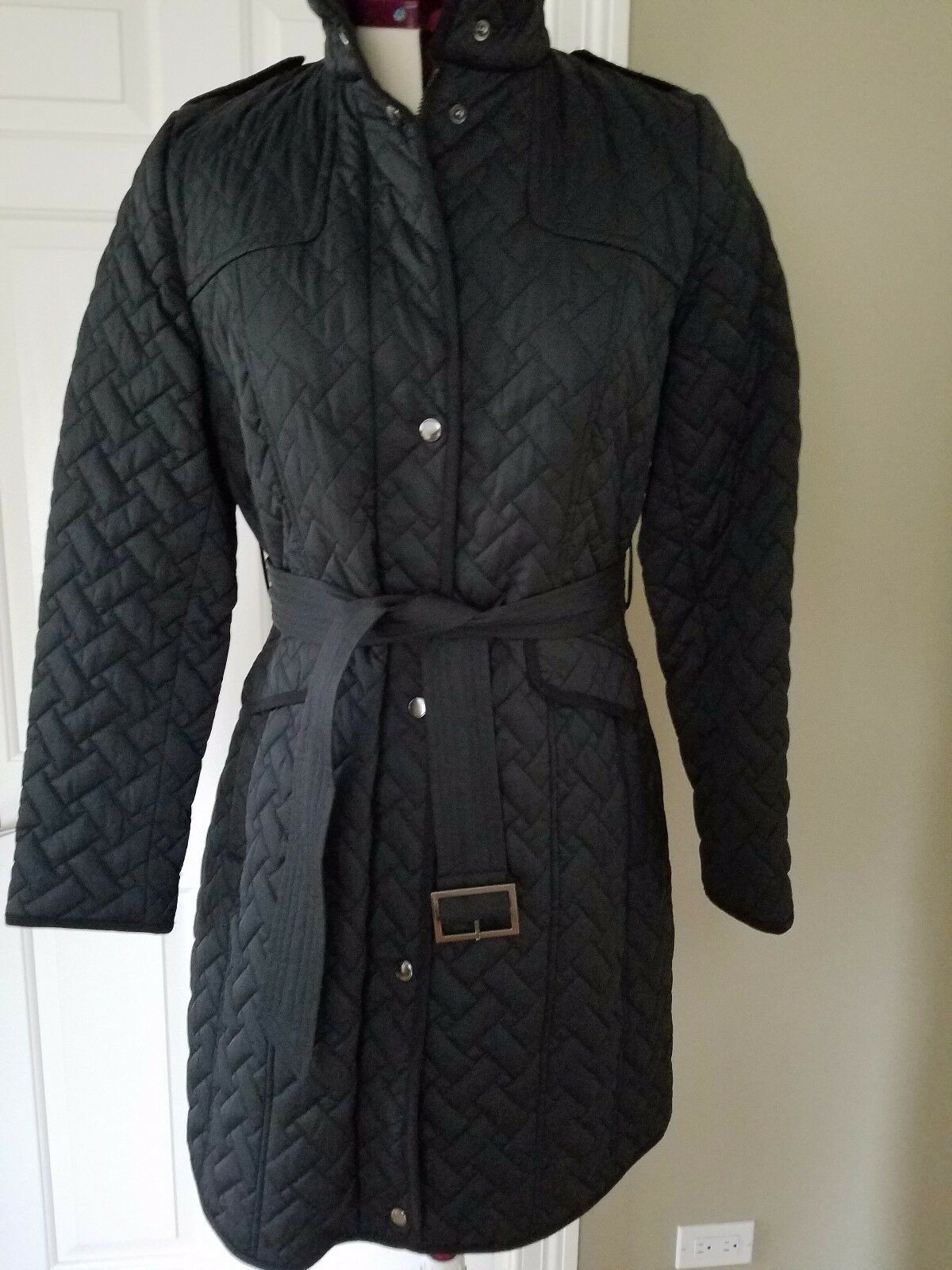 Cole Haan Womens Signature Black Quilted Coat Jacket Size M Ebay