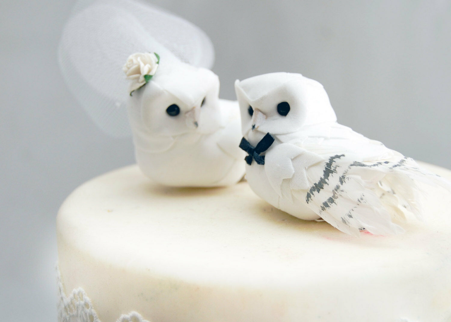 Snowy Owl Wedding Cake Topper in Winter White Rustic Bride and Groom ...