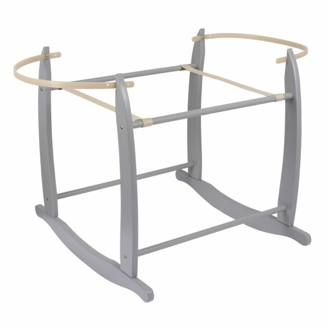 NEW CLAIR DE LUNE GREY WOODEN DELUXE ROCKING STAND TO FIT BABY MOSES BASKETS