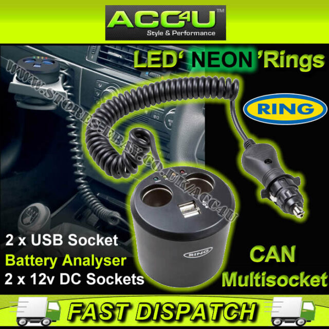 Ring RMS10 12v Car Twin Multi Socket Can With Two USB Sockets & Battery Analyser