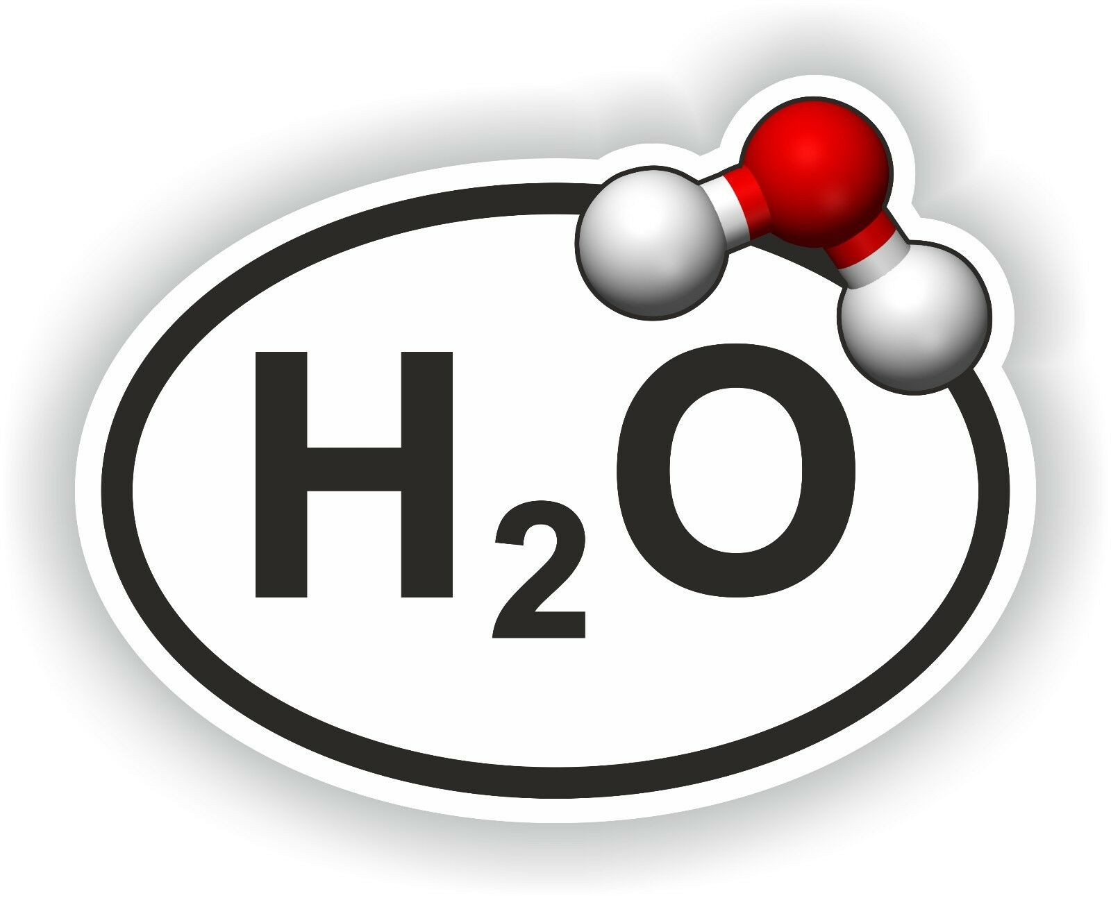 H2o oval sticker water with chemical formula bumper decal car bath resntentobalflowflowcomponenttechnicalissues buycottarizona Choice Image