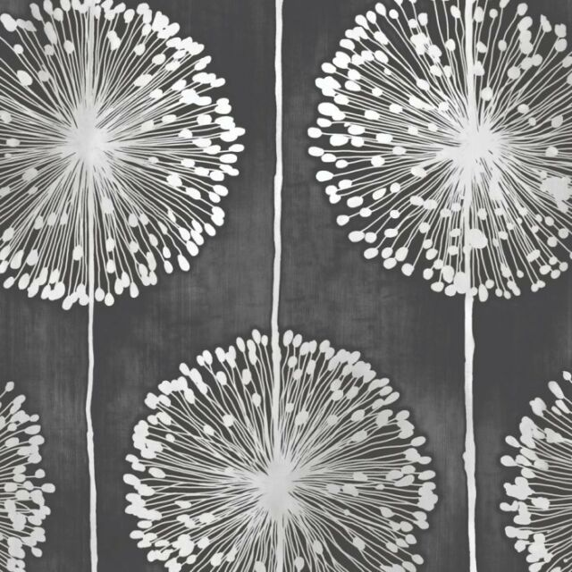 Floral Black And Grey Nature Tattoo: Muriva Dandelion Floral Wallpaper In Black - J04219