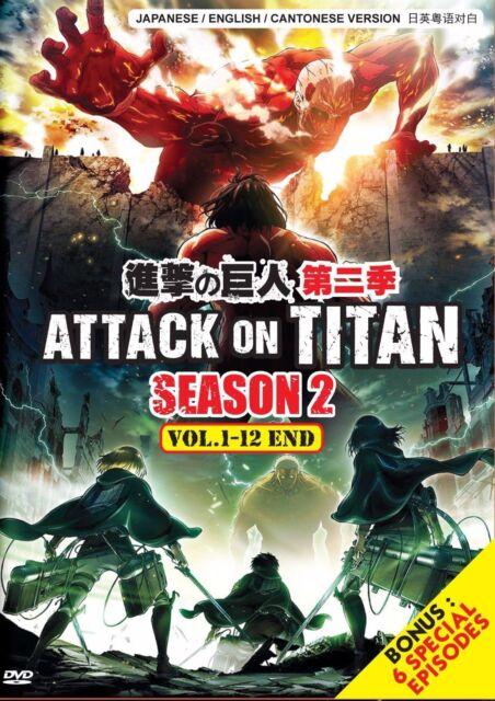 Attack on TITAN Season 2 Vol.1-12 End Bonus 6 Special English Dub DVD Anime   eBay
