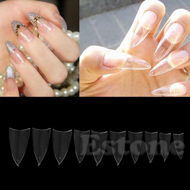 500pcs Transparent Stiletto Point French Acrylic UV GEL False Nail ...
