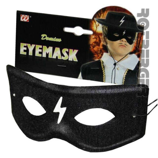 Kinder Augenmaske Zorro Bandit Maske Stoff schwarz mit Zeichen Fasching Karneval
