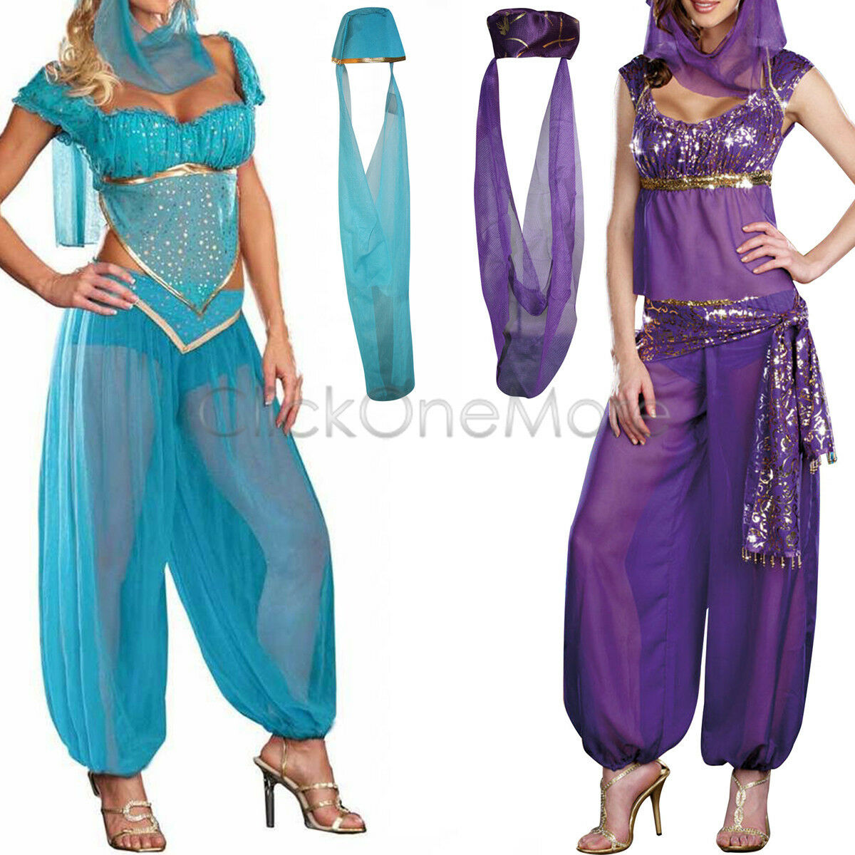 Women Lady Genie Princess Jasmine Arabian Fancy Dress Belly Dancer ...
