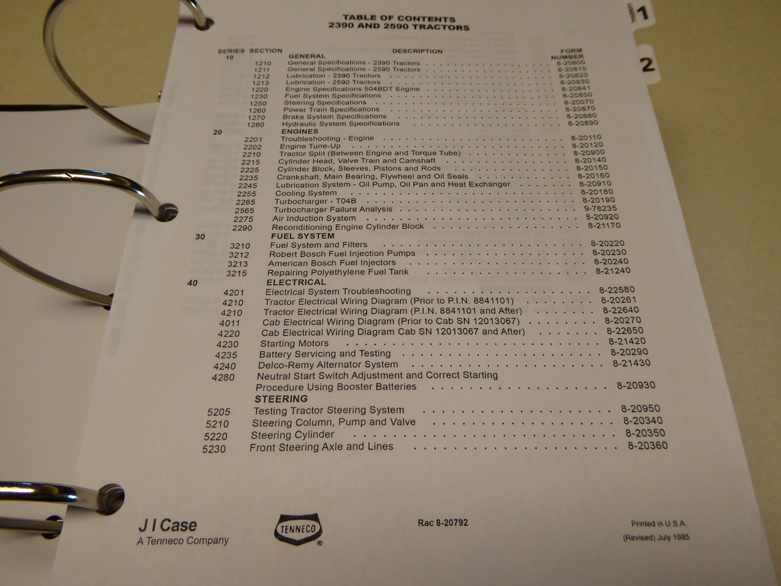 s l1600 case 2390 2590 tractor service manual repair shop book with binder case 2590 wiring diagram at crackthecode.co
