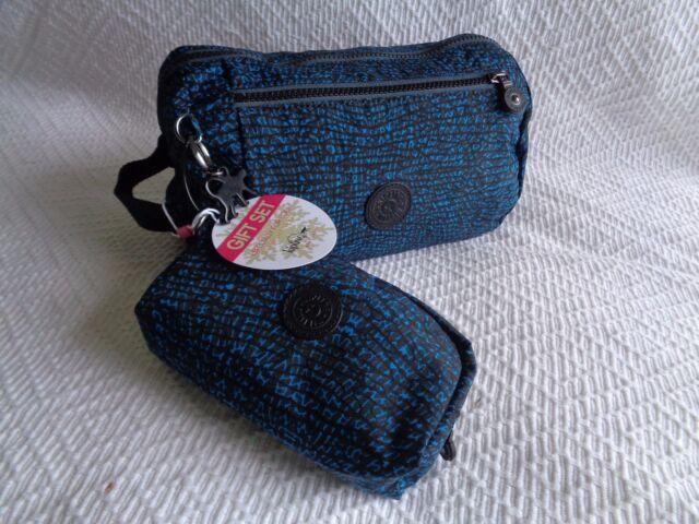 Kipling Toiletry Bag Duo Dragonfly Print  & black  plastic monkey