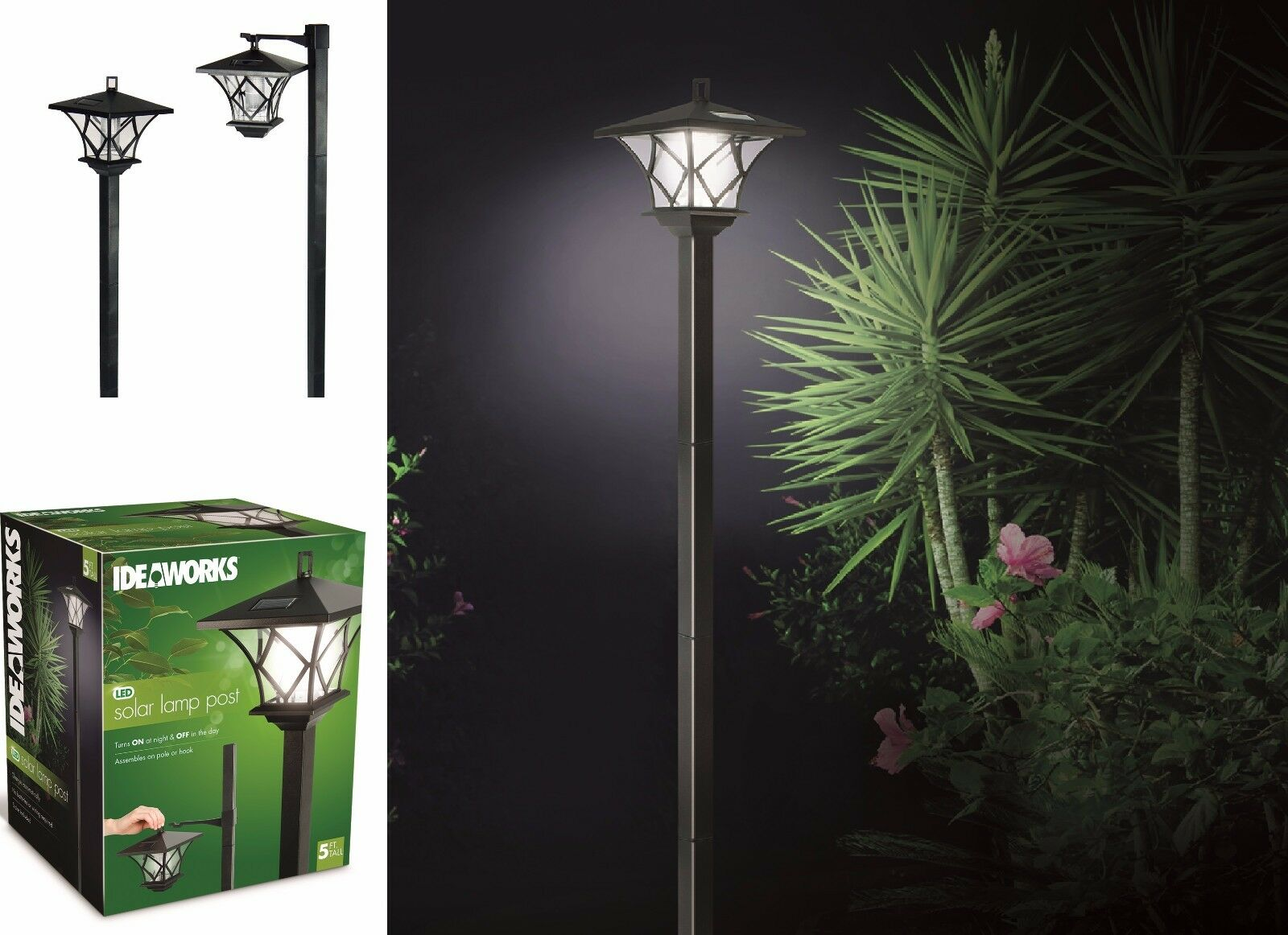 Outdoor Garden LED Antique Solar Landscape Path Light Lamp Post Dual ...