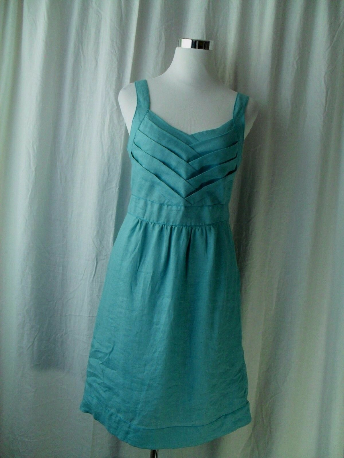Max Studio Specialty Products Dress Size M Blue 100 Linen Sundress ...