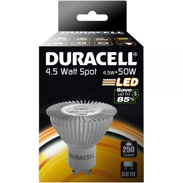 4 PACK OF 4.5wu003d50w DURACELL LONG LIFE LED GU10 LOW ENERGY SAVING SPOT  sc 1 st  eBay & 4 Pack of 4.5w 50w Duracell Long Life LED GU10 Low Energy Saving ...