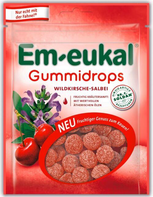 (100g=2,21€) Em-eukal Gummidrops Wildkirsche Salbei - Fruchtgummi - 90g