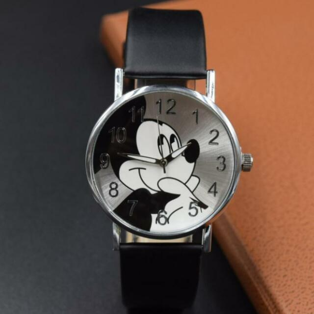 watch wrist s black women p kids girl of picture cartoon watches leather lady mouse mickey teens