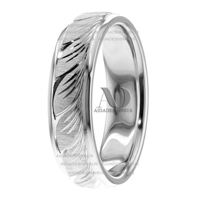 14k White Gold Ring Engraved 6mm Wedding Band   eBay