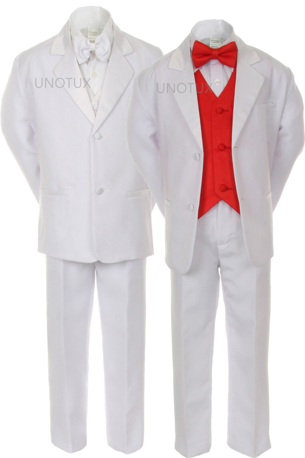 Baby Boy Formal Wedding Party 7pc White Tuxedo Suit Color Pick Vest ...