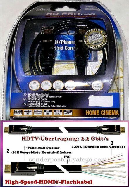 2666 HDMI Kabel Eck Flach SKY Master 24K vergoldet DVD LED TV MP4 HDMI Kabel 11