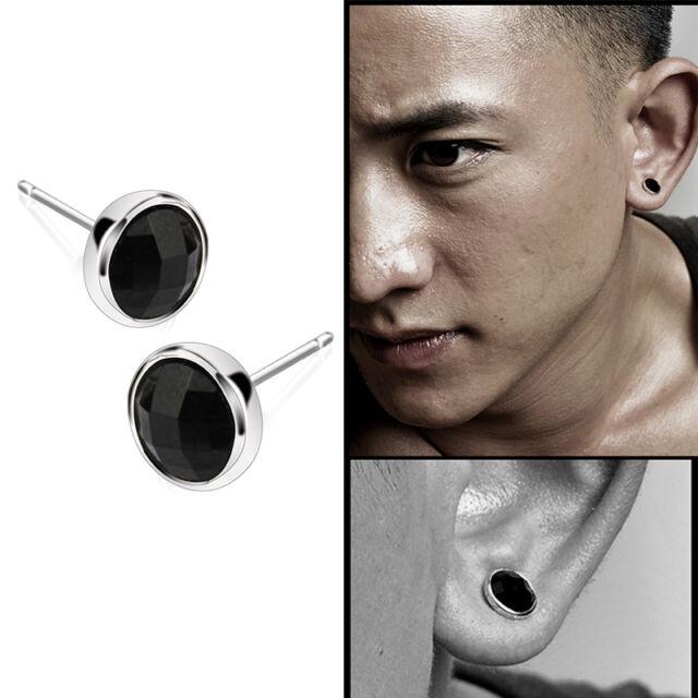 Fashion 1pair Mens Round Black Agate Silver Ear Studs Earrings Uni Tb