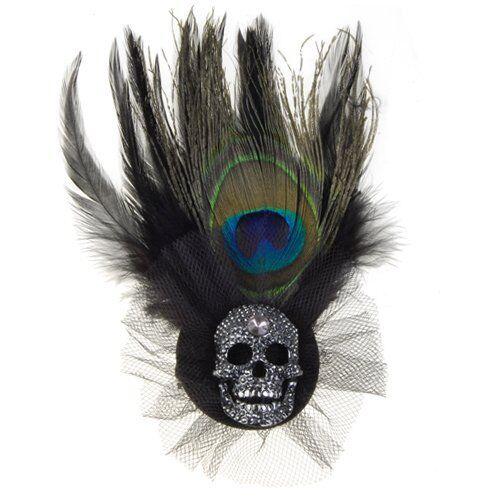 Peacock Feather Rhinestone Skull Brooch w/ Pin And Alligator Clip Black HY