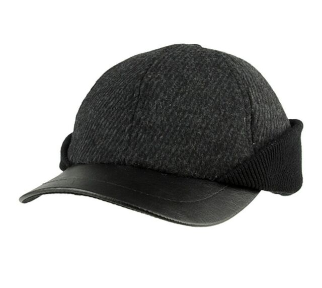 Winter Wool Baseball Cap Hat With Ear Flaps Charcoal Grey ...
