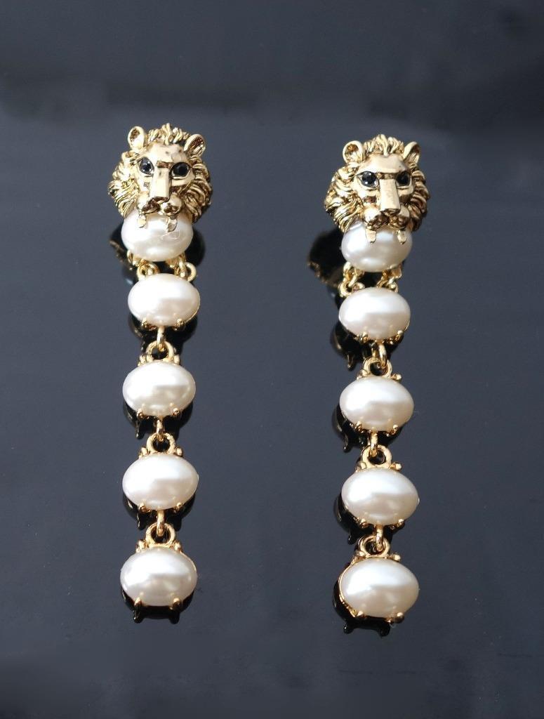 Vintage creamy pearl dangle chandelier earrings black eye lion head picture 1 of 8 arubaitofo Choice Image