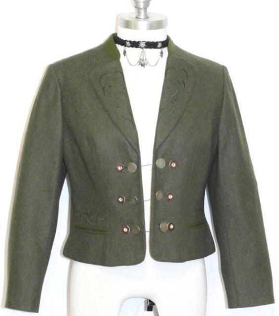 Wool Green German Women Short Trachten Riding Dirndl Dress Coat