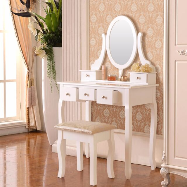 5 Drawer Mirror Makeup Vanity Table Set W Stool Jewelry Wood White Desk