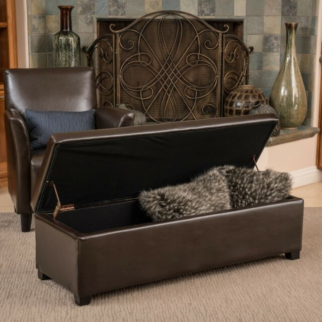 Ebay Storage Ottoman Part - 20: Contemporary Brown Leather Storage Ottoman Coffee Table