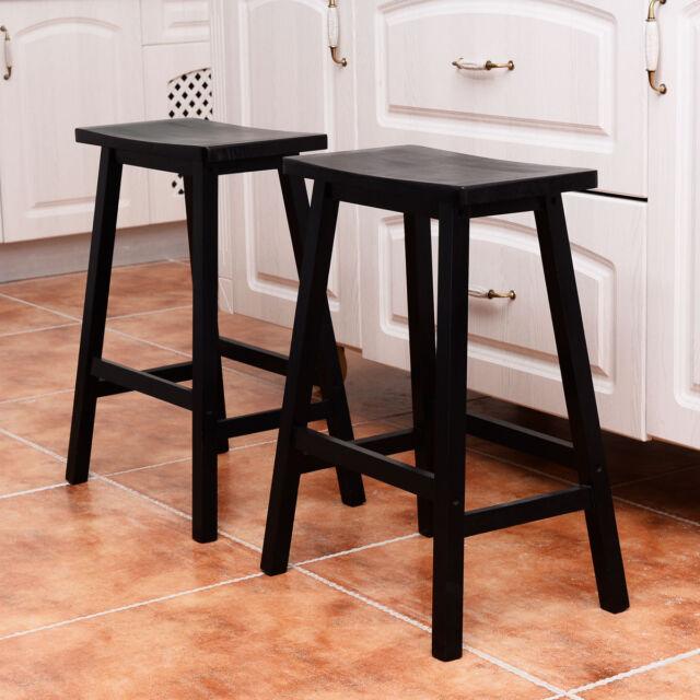 set of 4 bar stools. Set Of 4 Bar Stools Home Kitchen Dining Room Saddle Seat Wooden Pub Chair Black