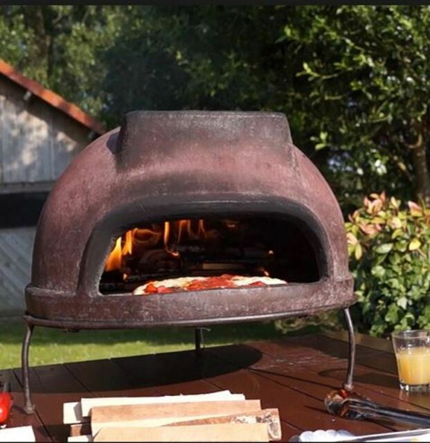 outdoor wood fired pizza oven portable grill stand handmade brown terracotta ebay. Black Bedroom Furniture Sets. Home Design Ideas