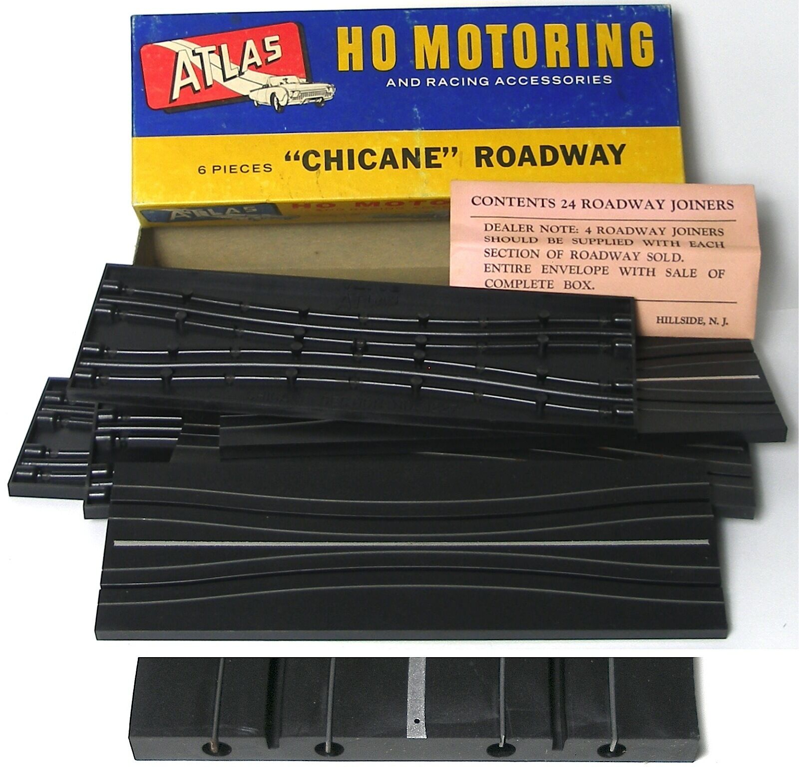 6pc 1963 Atlas HO Slot Car Race Track 9 Straight Chicane Roadway ...