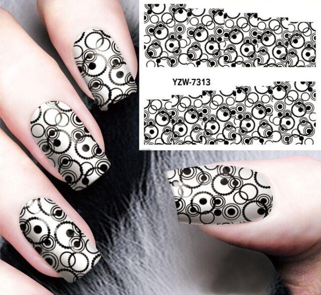 Nail Art Stickers Water Decals Transfers Black Bubbles GEL Polish | eBay
