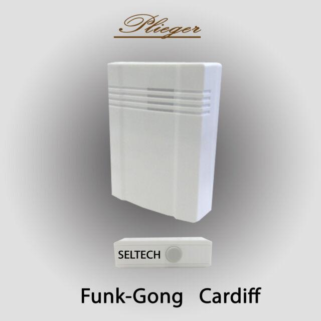 Funk Klingel Plieger Türgong weiß Türklingel 3 Melodien Funkgong 50 Meter Gong
