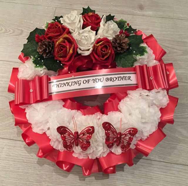 artificial christmas wreath flowers ring memorial grave roses red white fur cone