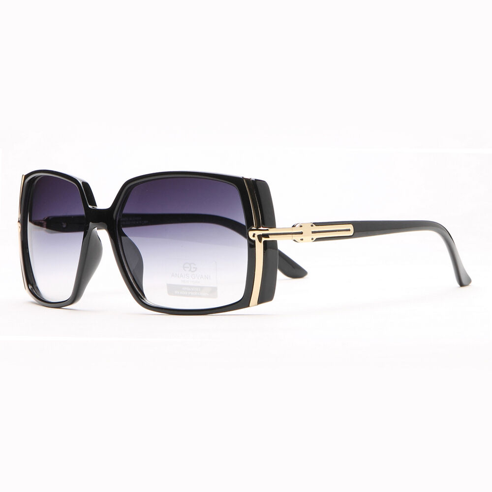 Classic Square Frame Sunglasses With Gold Lined Accent - Black   eBay
