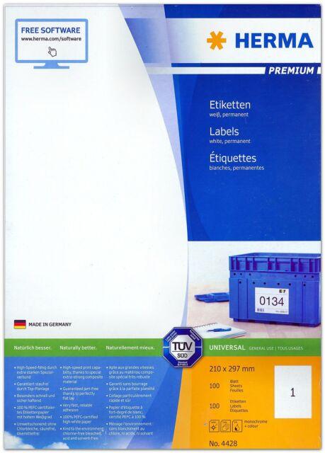 Universal Etiketten 210 x 297 mm, weiß, Menge nach Auswahl, HERMA PREMIUM 4428
