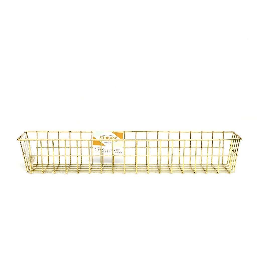 American Crafts Cp375795 Wire System Metal Storage Bin-medium Gold ...