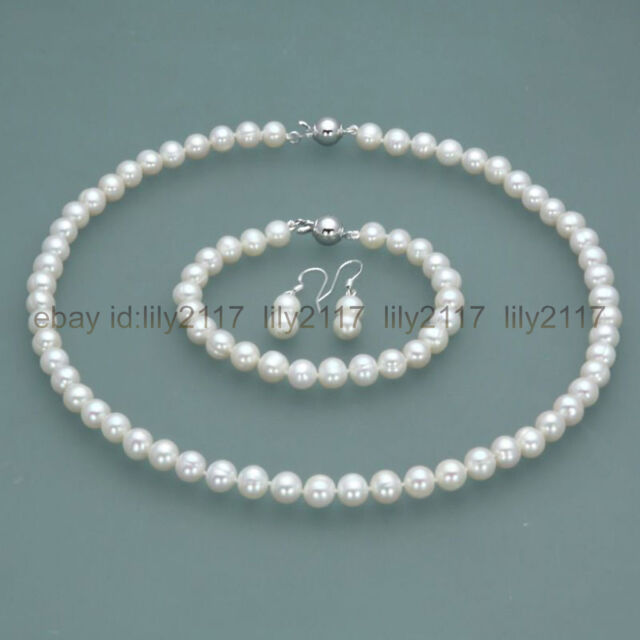 New 7 8mm Real Natural White Freshwater Pearl Necklace Bracelet Earrings Set