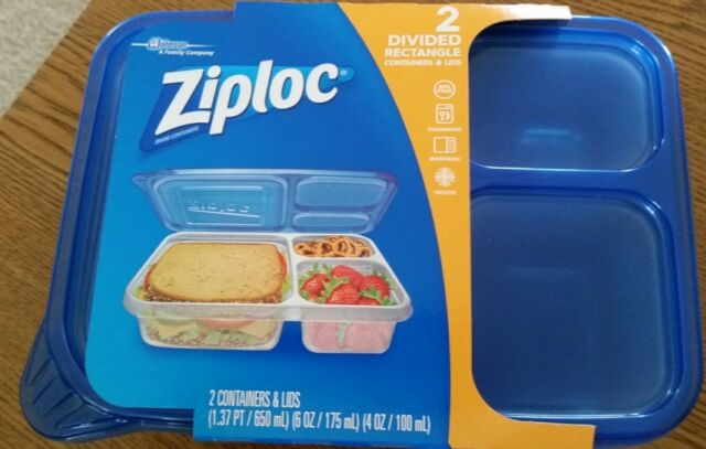 Ziploc Divided Rectangle Pack Of 2 Containers W Lids Dishwasher Microwave Safe