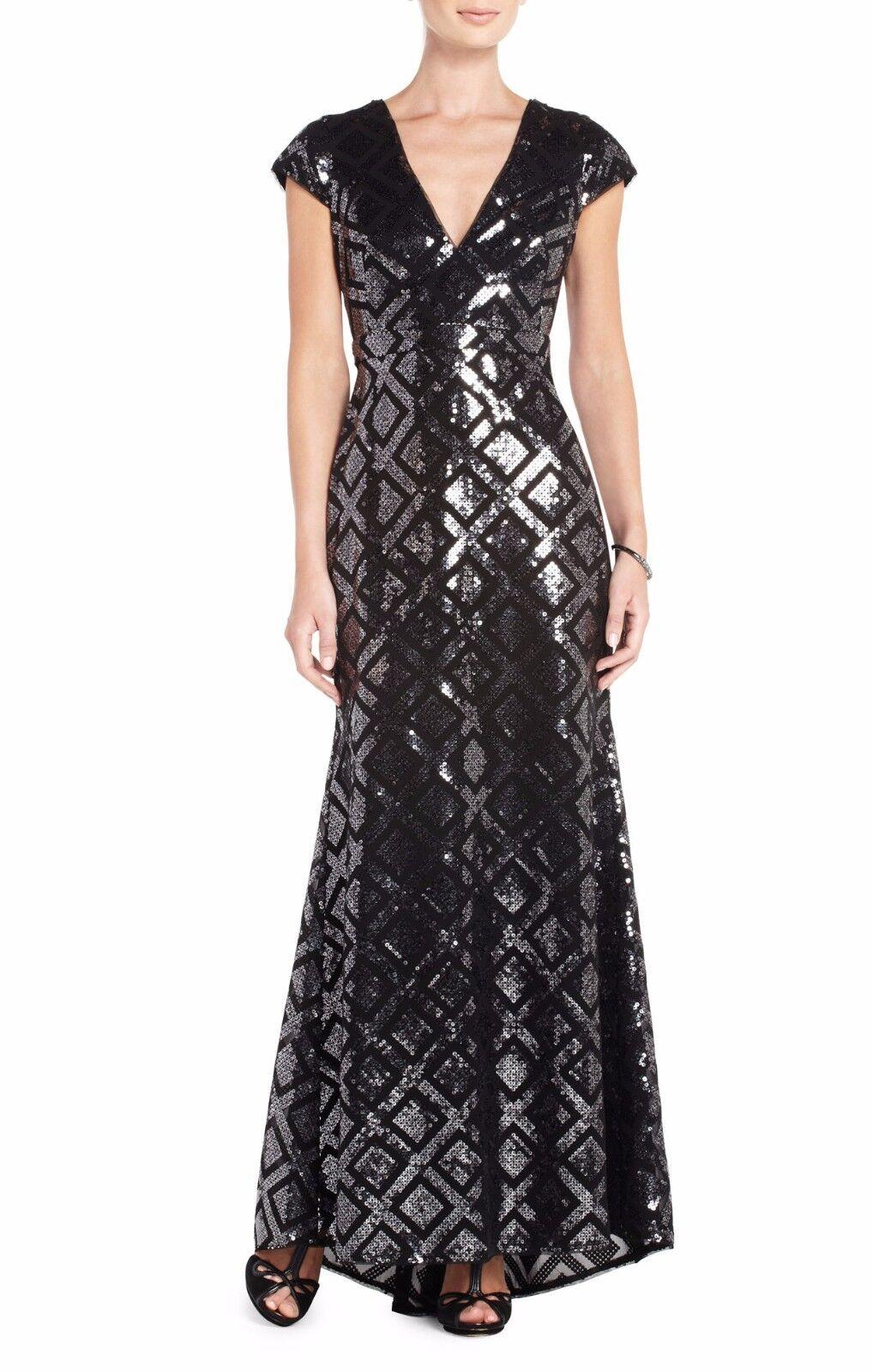 BCBG Max Azria Black Combo Skylah Sequined Evening Gown Wjb6u817 ...