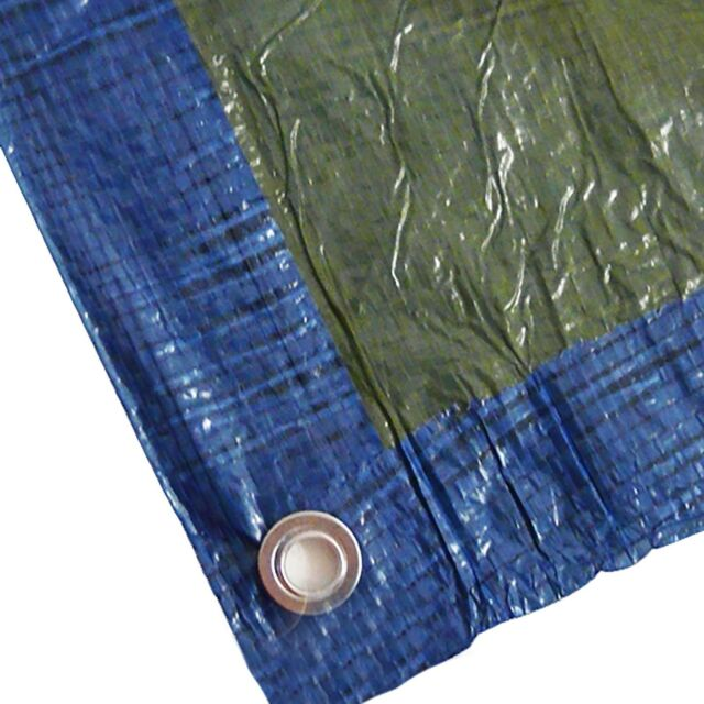 Abdeckplane Abdeckplanen Gewebeplane Ösen 6x10m blau/grün UV-beständig