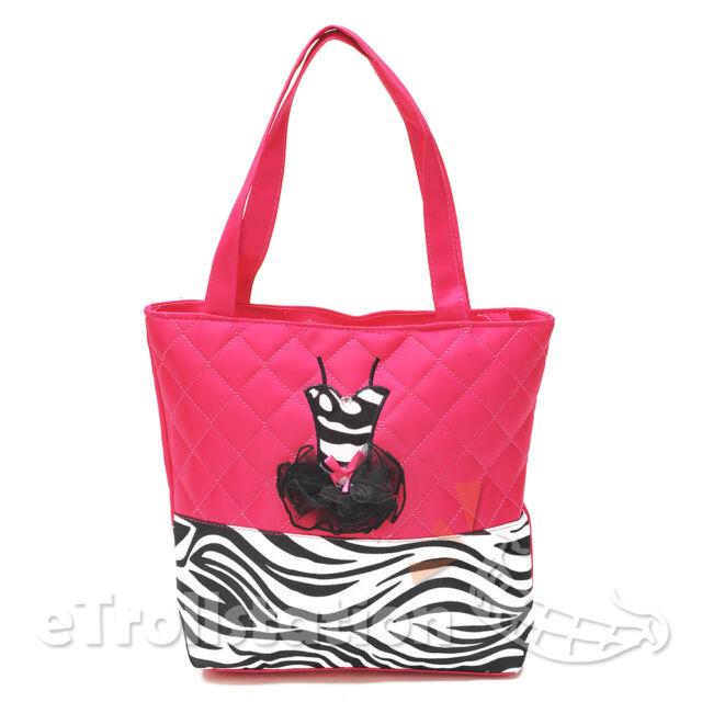 New S Hot Pink Quilted Zebra Pattern Tote Dance Bag Black 3d Dress Tutu