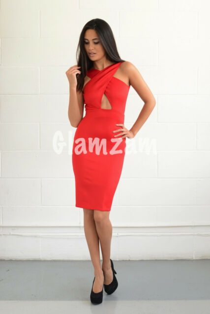 78394b6c38 UK New Sexy Keyhole Plunge backless midi Red Celeb Bodycon Dress Glamzam  Party