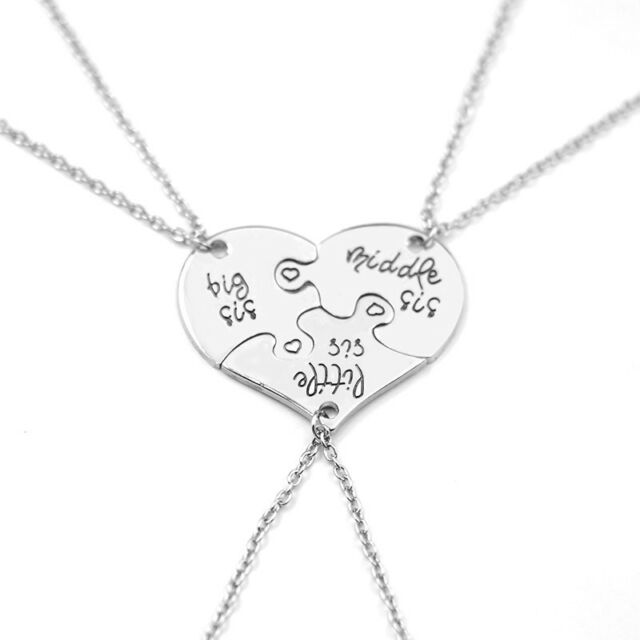 3pc puzzle heart big middle little sis family gift sister pendant 3pc puzzle heart big middle little sis family gift sister pendant necklace bff mozeypictures Gallery